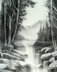 New Art Drawings Sketches Pencil Landscape 48 Ideas Landscape Pencil Drawings, Landscape Sketch, Pencil Art Drawings, Art Drawings Sketches, Landscape Art, Pencil Shading, Charcoal Art, Charcoal Drawings, Arte Sketchbook