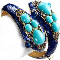 Trifari 'L'Orient' Turquoise Headed Snakes and Blue Metallic Enamel Bangle Bracelet