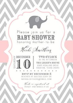 Gray and Light Pink Chevron with Elephant Baby Shower Invitation