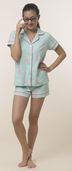 "Bedhead Women's ""Light Blue Eiffel Tower"" Classic Stretch Pajama Shorts Set $114 - SHOP http://www.thepajamacompany.com/store/bedhead-women-s-light-blue-eiffel-tower-classic-stretch-pajama-shorts-set.html?category_id=326"