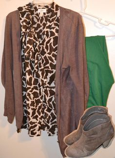 Animal print shirt with colored khakis and a simple cardigan with western inspired booties