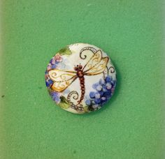 Pen & Ink on Silk covered button