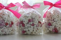 Popcorn with white chocolate and mms. Change colors for holidays.