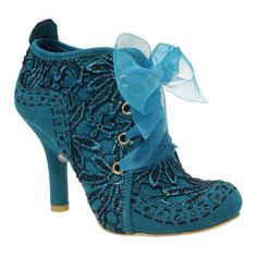 Abigails Party | Irregular ChoiceCome and join the party! New Abigails Party for this season! This autumn we have a teal fabric upper with a contrast stitched and punched faux suede heel and toe cap. A metallic embroidered flower design is all around the boot and it has a matching organza wide lace.