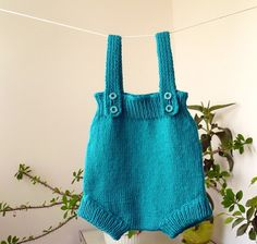 Hand Knit Baby RomperDark Turquoise Baby by KnitForYourBaby, $37.00