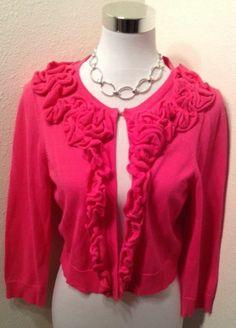 INC Womens Sweater/Shrug Ruffled Opening Waist Length Sz. Large PINK