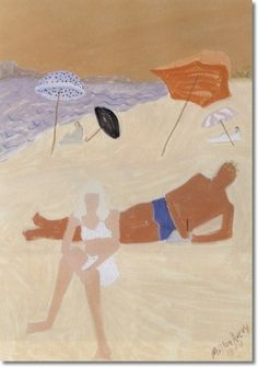 Milton Avery - Loungers On Pink Beach Painting