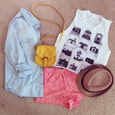 Love this denim shirt with white printed tee-shirt and pink lace shorts and cute hats and yellow leather clutch the cute summer outfits