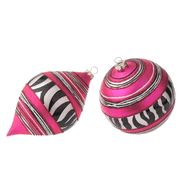 pink and zebra ornaments..never seen them before