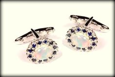 Latest 925 Sterling Silver Natural Opal & Blue Sapphire Gemstone Men's Cufflinks #SimSimSilver