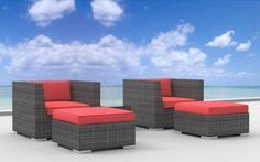 Urban Furnishing - Curacao 5pc Modern Outdoor Backyard Wicker Rattan Patio Furniture Sofa Chair Couch Set - coral red (5d-curacao-red). Price - $999.00 as of 16-Aug-2013 IN New York, NYC, Chicago, Seattle, Virginia, Washington DC, Texas - Dallas, California - San Francisco, Los Angeles, US