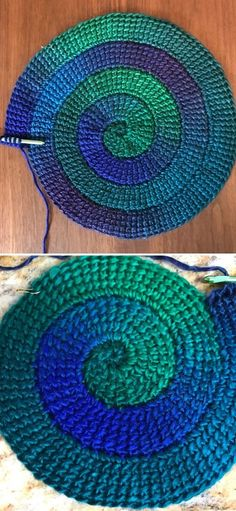 Spiral Crochet Pattern, Crochet Placemat Patterns, Crochet Tablecloth, Freeform Crochet, Crochet Stitches Patterns, Crochet Motif, Free Crochet, Crochet Coaster Pattern Free, Crochet Crafts