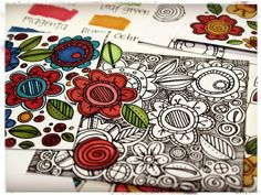 Peek #6 From the Homegrown and Handmade launch -- stamp florals in black, then zentangle lines between images