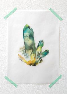 "Quartz with Fuschite cluster-  5"" x 7"" Art Print on Vellum"