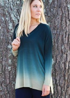 This Dip Dyed Emerald Top is a lovely and unique piece to have in your closet this winter! The cut is super flattering, and the dip-dyed material makes it oh so special. It would look beautiful with a