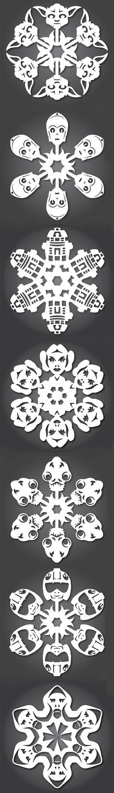 Add some nerdy flair to your winter decorations with these Star Wars themed snowflakes.