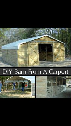 DIY Barn from a carport. perfect for a hockey rink inside that you won't need to scrap off in the winter