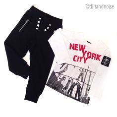 BTS Outfit of the Day : We swear they'll reign the playground in these Molo rockstar style sweats and Monster Republic NYC rebel shirt.   TOO COOL FOR SCHOOL