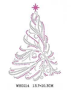 beautiful Christmas tree rhinestone transfers 30 pieces/lot