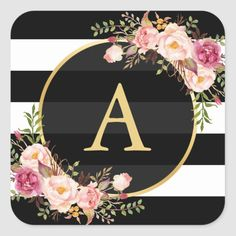 Shop Gold Monogram with Black White Striped Floral Deco Classic Round Sticker created by CardHunter. Monogram Wallpaper, Chevron Wallpaper, Apple Wallpaper, Initial Wall, Monogram Letters, Salon Business Cards, Beautiful Lettering, Best Iphone Wallpapers, Gold Background