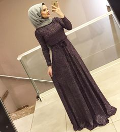 Hijab Dress Party, Hijab Style Dress, Chic Dress, Abaya Fashion, Modest Fashion, Fashion Dresses, Hijabi Gowns, Modele Hijab, Simple Gowns