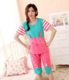 US$ 5.40 Women's Rabbit Pattern Short Sleeve Round Neck Pajamas Shirt+ Pants