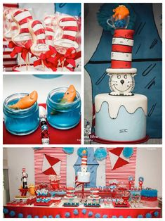 Cat In The Hat Birthday Party via Kara's Party Ideas KarasPartyIdeas.com Cake, printables, desserts, supplies, invitation, and more! #catinthehat #catinthehatparty #catinthehatpartyideas (1)