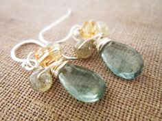 Moss Aquamarine Earrings Sterling Silver by thelittlehappygoose, $45.00