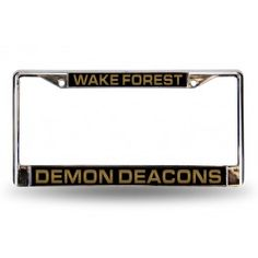 Wake Forest Demon Deacons Black Laser-Etched Chrome License Plate Frame