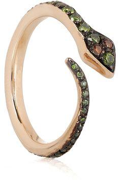 Big Snake 18-karat rose gold diamond ring by Ileana Makri