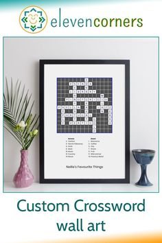 Personalised crossword puzzle print - we do the crossword design from your clues and answers. Really unique personalised anniversary gift idea. #elevencorners #crossword #crosswords #giftidea #personalisedprints #anniversary #anniversarygift Personalized Retirement Gifts, Personalised Gifts For Him, Personalised Prints, Personalized Wall Art, Presents For Him, Gifts For Mum, Little Bit Of You, Family Wall Art, Grandparent Gifts