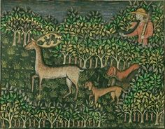 Phébus, Gaston Hunter and Dogs Pursuing Fallow Deer, from Livre de la Chasse, Ms. 27, fol. 81v (detail)	about 1430 - 1440	Tempera colors, gold paint, silver paint, and gold leaf on parchment bound between pasteboard covered withred morocco, 10 3/8 x 7 1/4 in The J. Paul Getty Museum, Los Angeles Visual Thinking Strategies, Fallow Deer, Getty Museum, Silver Paint, Gaston, Tempera, Moose Art, Gold Leaf, Morocco