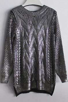 High-Low Hem Sparkle and Glitter Sweater