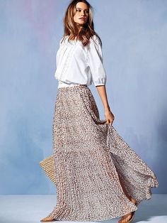Pleated Maxi Skirt .  I usually think animal print is tacky but I love this skirt .