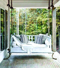 outdoor porch bed swing 59 - iTs Home Ideas Outdoor Porch Bed, Outdoor Rooms, Outdoor Living, Front Porch Swings, Outdoor Kitchens, Screened In Porch Furniture, Outdoor Patios, Diy Porch, Front Porches