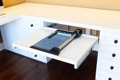 PULL OUT DRAWER FOR PAPER CUTTING Creative Craft Room Ideas | Craft Room / Office ideas for a small bedroom or dining room