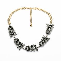 America Pop Decent Simple Female Party Shiny Gold Color Crystal Leaf Chunky Necklace