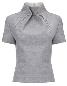 Lee Grey Wool Gathered Neck Top and other apparel, accessories and trends. Browse and shop related looks. Fashion Details, Look Fashion, Diy Fashion, Ideias Fashion, Fashion Outfits, Fashion Design, Origami Fashion, Winter Fashion, Short Sleeve Collared Shirts