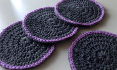 Crochet Coasters in Dark Grey and Purple  Set of 4 by kylieB, $15.00