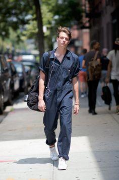 http://chicerman.com  billy-george:  Overalls  New York Fashion Week: Mens  Photo courtesy of Youngjun Koo  #streetstyleformen