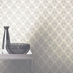 Modern Art Deco Astoria Wallpaper White / Silver - Rasch 433937 New Geometric Wallpaper Metallic, Textured Wallpaper, Waves Wallpaper, Art Deco Wallpaper, Ebay Store Design, Art Deco Pattern, Modern Art Deco, Wave Art, Wall Patterns