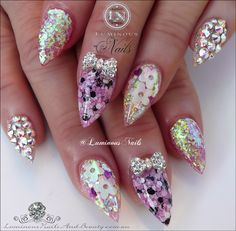 Pretty in Pink Acrylic Nails with Encased Flowers & Confetti, Crystal 3D Bows & Swarovski Crystals...