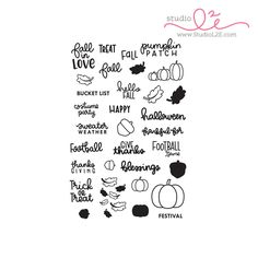 Fall in Love is a 4x6 photopolymer stamp set that includes 34 stamps perfect for decorating your planner during the Fall season