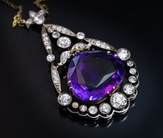 Rare Antique Russian Siberian Amethyst Diamond Necklace, Circa Featuring a superb carat deep royal purple Siberian amethyst of an unusual pear shape. The amethyst is framed by 3 carats of sparkling old European cut diamonds set in silver over gold. Viking Jewelry, Antique Jewelry, Vintage Jewelry, Edwardian Jewelry, Amethyst Jewelry, Amethyst Pendant, Diamond Jewellery, Purple Jewelry, Amethyst Necklace