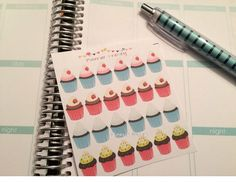 Cute Cupcake stickers! Perfect for your Erin Condren Life Planner, Plum Paper Planner, Filofax, Scrapbooking, Birthdays - Set of 24 - by PlannerFrenzy on Etsy https://www.etsy.com/listing/216205900/cute-cupcake-stickers-perfect-for-your