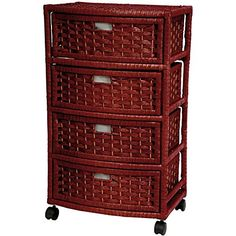 "Oriental Furniture 29"" Natural Fiber Chest of Drawers - Mahogany"