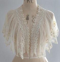 Antique/vintage flower embroidered net lace shoulder cape/collar