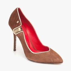 Cesare Paciotti Suede Pointed Toe Pump With Side Zip Detail In Brown & Gold featured in vente-privee.com
