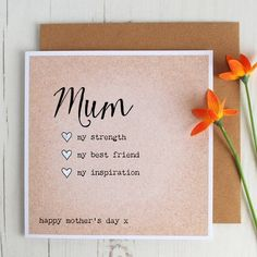 Mother's Day Card - Personalised Card For Mum - Mum Birthday - Special Qualities Mother's Day Card Happy Fathers Day Cards, Mothers Day Presents, Mum Birthday, Birthday Cards, Happy Mother S Day, Message Card, Cards For Friends, Happy Anniversary, Work Colleague