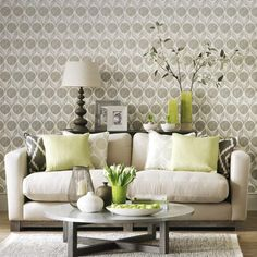 Statement wallpaper in a neutral living room | Simple designs for easy living room makeovers | Room Ideas | PHOTO GALLERY | Ideal Home | Housetohome.co.uk